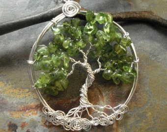 Wire Wrapped Tree of life Necklace, Peridot Tree of Life Pendant Necklace with Sterling Silver Chain,August Birthstone  TLN-PER-SSSW