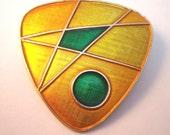 Enamel modern art style brooch in yellow, green and orange Germany