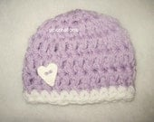 Crochet Baby Hat Photo Prop READY TO SHIP Lavender With Heart Button