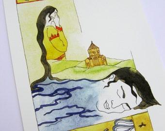 Watercolor/Akhtamar-Armenian tale/giclee print
