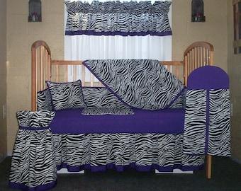10 Piece Zebra Print With Purple Accent Trim Baby Quilt Set, Nursery Set  Set 1