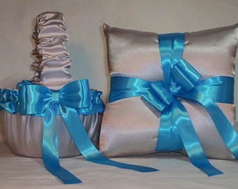 Silver Satin With Turquoise Blue Ribbon Trim Flower Girl Basket And Ring Bearer Pillow Set 2