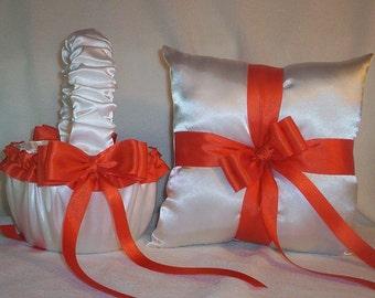 White Satin With Orange Ribbon Trim Flower Girl Basket And Ring Bearer Pillow