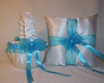 White Satin With Turquoise Blue Ribbon Trim Flower Girl Basket And Ring Bearer Pillow Set 2