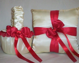 Ivory Cream Satin With Red Lace And Ribbon Trim Flower Girl Basket And Ring Bearer Pillow Set 1