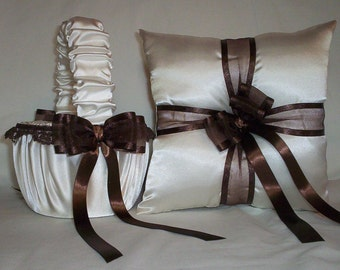 Ivory Cream Satin With Brown Lace And Ribbon Trim Flower Girl Basket And Ring Bearer Pillow Set 1