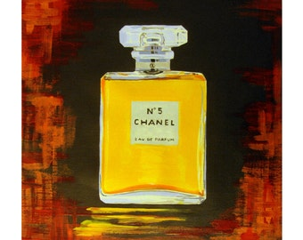 CHANEL 5 Perfume Bottle Paris Haute Couture FRANCE, Amber Abstract, Original illustration Artist Print Wall Art,  Free shipping in USA.