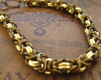 Chain Mail Bracelet Kit  Vintage Bronze and Gold Chainmail Kit