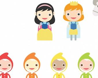 Snow White and the 7 Dwarfs Peek-A-Play Art Print 20 x 16 // Kids Wall Art Nursery Decor // School Play Woodland Characters