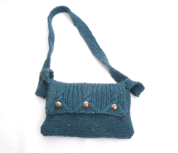 Turquoise Messenger bag ,  SALE CLEARANCE , handknit shoulder bag ,  womens knitted accessory , christmas gift , gift for her , REDUCED