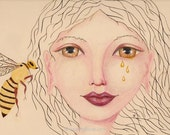 Honey Bee said to Me, Bee and Goddess, Honey Tales, Bee Totem Art, Honey Tears, Greeting Card