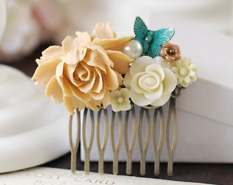 Floral Collage Hair Comb. Flower and Blue Butterfly Hair Comb. Beige Cream Rose, Ivory Chrysanthemum, Brass Butterfly Hair Comb