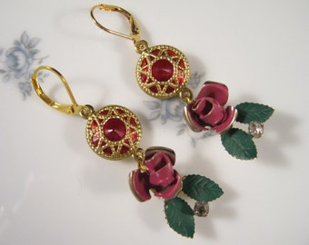 Reclaimed Vintage Earrings, Vintage Enamel Flowers, Ruby, Upcycled, Reclaimed, Shabby Chic, Gold, OOAK, Pierced, Bridesmaid Gift - Red Roses