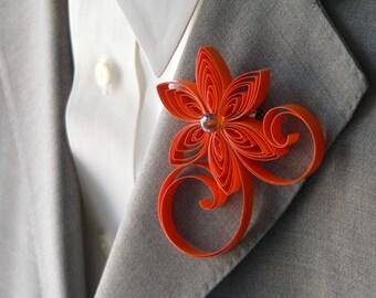 Pumpkin Orange Boutonniere, Orange Buttonhole, Pumpkin Wedding, Mens Wedding Boutonnieres