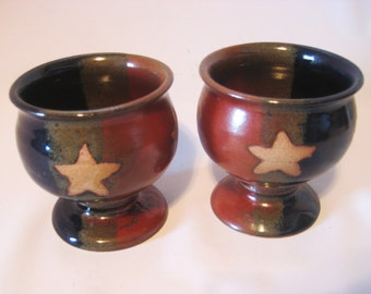 Two Wine Goblets Handmade Pottery Teacups Glazed  Rustic Rust Red & Blue with Natural Clay Stars