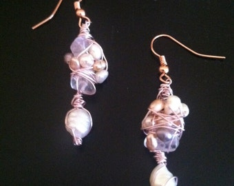 Mermaid's treasure chest wire-wrapped earrings - freshwater pearl, amethyst and clear quartz