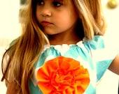 Monogrammed Monogram Chevron Girls Toddler Aqua/White Dress sizes 3m, 6m, 9m. 12, 18, 2t, 3, 4,
