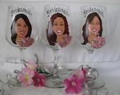 Three Painted Bride Bridesmaid Wedding Glasses NINE Caricature Cartoon  Wine Beer