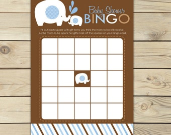 Boy Elephant Baby Shower Bingo Game Printable - Brown Blue Baby Shower Bingo Cards - Instant Download - Boy Baby Shower Games Activity