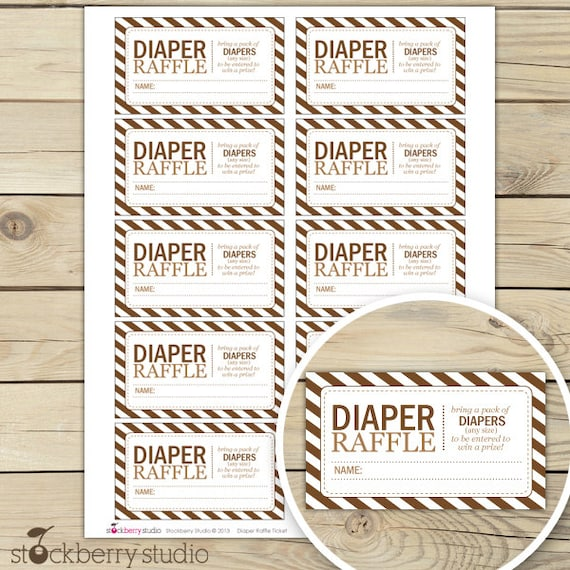 Brown Baby Shower Diaper Raffle Tickets - Instant Download - Brown ...
