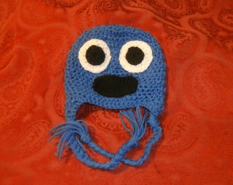CLEARANCE crochet cookie monster hat, baby