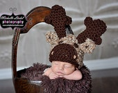 PDF Instant Download Easy Crochet Pattern No 268 Moose Hat and photo prop sizes preemie, newborn. 0-3, 3-6 months