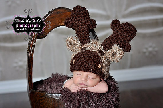 PDF Instant Download Easy Crochet Pattern No 268 Moose Hat and