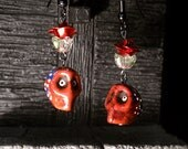 Hand Painted Stone Calavera & Roses Earrings