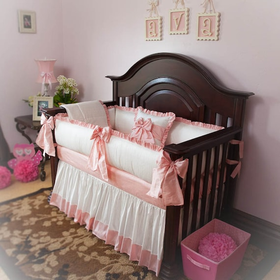 Designer Custom Made White Pink Princess Ava 5pc Crib