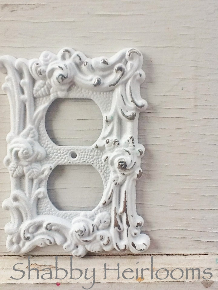 Distressed Metal Wall Decor : Distressed metal wall decor plate cover in white shabby
