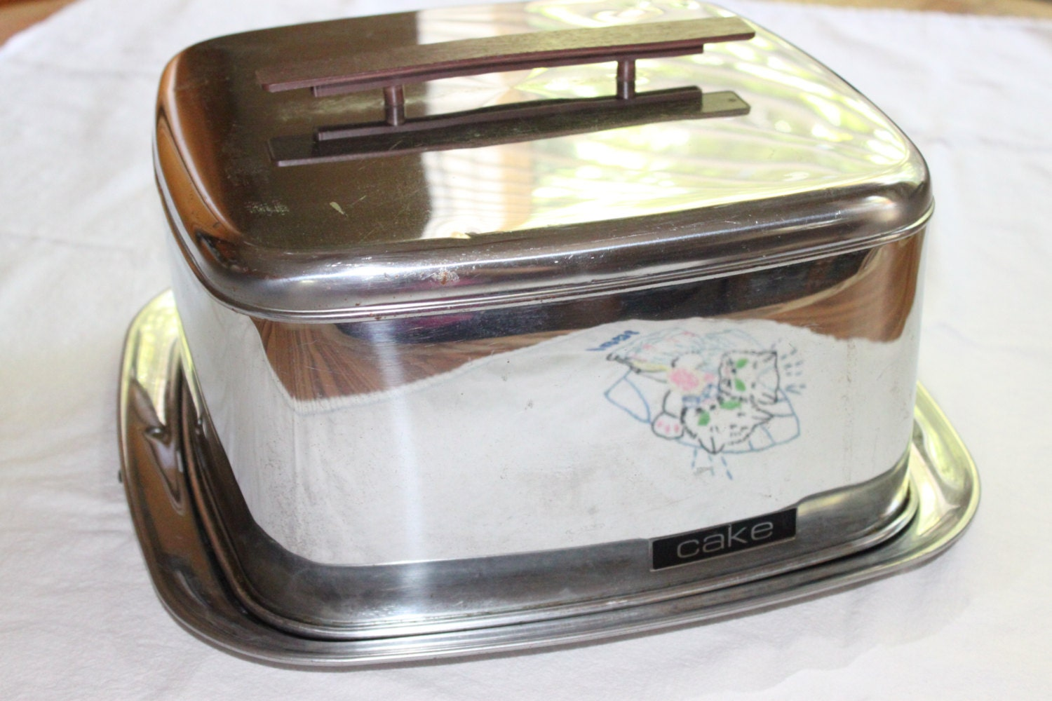 Vintage Lincoln Beautyware Square Cake Carrier Chrome Cake