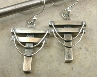Powerlines Industrial Fine Silver Earrings - Industrial Jewelry - Techie Utility Pole - Industrial Earrings -Hidden Cross -Powerline Jewelry