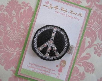Girl hair clips - peace sign hair clips - girl barrettes