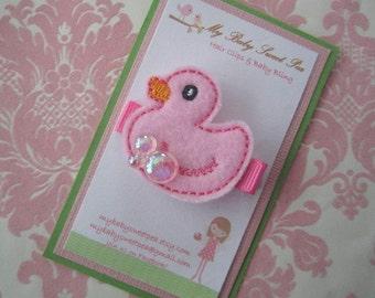 Girl hair clips - pink duck hair clips - girl barrettes