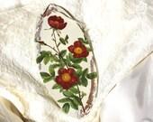 Oxblood wild roses decoupage home decor, wall decor, cozy, housewarming, flowers, cream, kitchen, vintage, Valentines Day