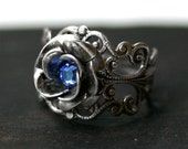 Sapphire Blue Rose Ring