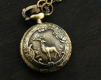 Woodland Deer Pocket Watch