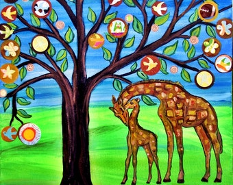 Tree of Life with Giraffes Custom  Nursery decor -Happy Tree Painting Penny Tree fantasy mixed media : size 8x10""