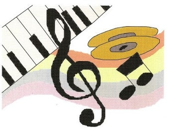 Musical Notes Treble Clef Cross Stitch Pattern