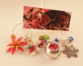 Red and White Christmas Wine Glass Charms Set of 4