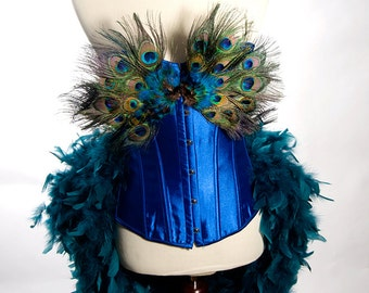 LARGE Peacock Costume Burlesque Feather Corset Fantasy Fairy Royal Blue Bird Teal Sexy Adult Women's