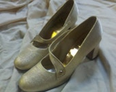 "gold sparkle """" chunky vintage heels """" size 6 """" ON SALE"