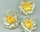 Bookprint and Yellow Pearl Peony Paper Flowers