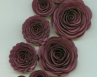 Purple Plum Handmade Spiral Paper Flowers