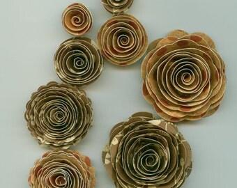 Brown Foral and Burnt Orange Polka Dots Handmade Spiral Paper Flowers