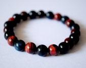 Combination of Red & Blue Tiger Eye Simple Design Bracelet