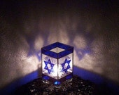 RESERVED for Heather Star of David Stained Glass Lamp