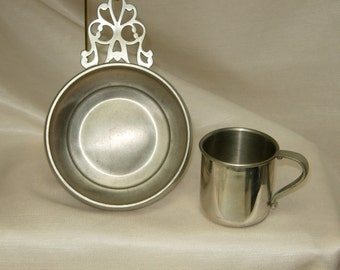 Pewter Porringer and cup,Paul Revere reproduction,Designer decor,Collectable decor,birthday gift,Fathers Day gift,Graduation gift,Home Decor