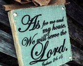 As For Me and My House Sign , Burlap Wood Sign , Wood Block , Wood Sign , Plaque , Bible Verse
