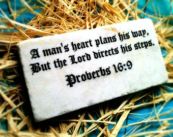 Proverbs 16:9 Stone Tile Plaque with stand Bible Verse Scripture